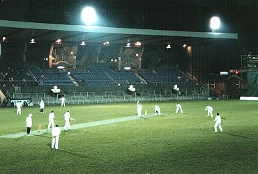 Cardiff Arms Park under floodlights
