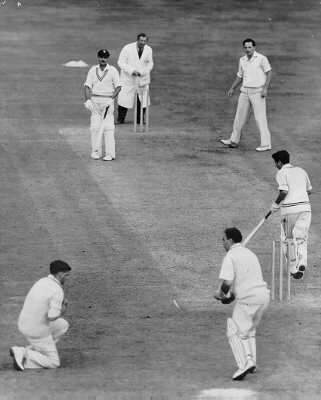 Don Shepherd (The bowler) gets a wicket