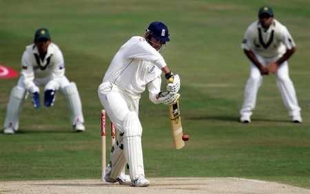 Marcus Trescothick drives the ball