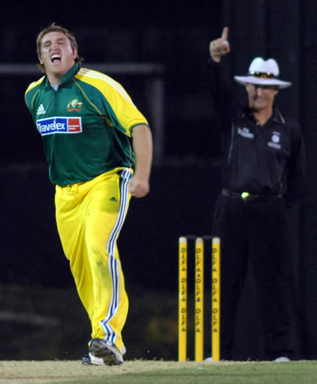 Cosgrove celebrates the wicket of Hinds