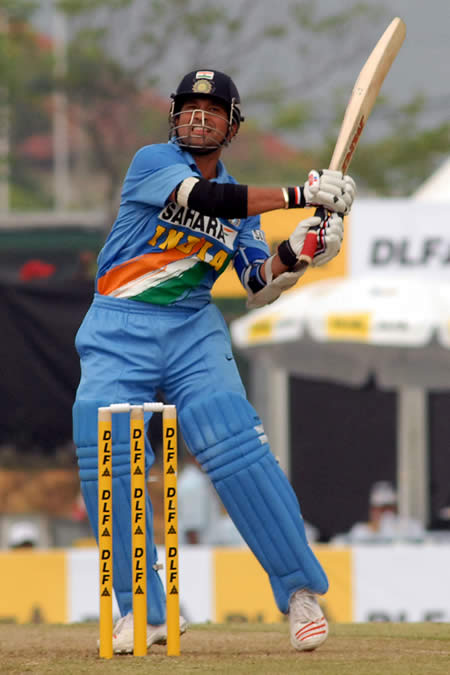 Tendulkar plays a shot