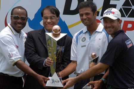 Lara, Dravid and Ponting pose with the DLF Cup