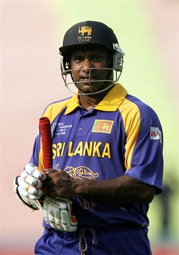 Jayasuriya walks back to the pavillion