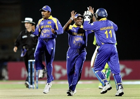 Sri Lankan players celebrate the wicket of Mohammad Hafeez