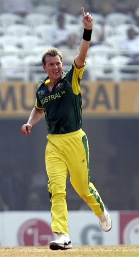 Lee celebrates after taking a wicket