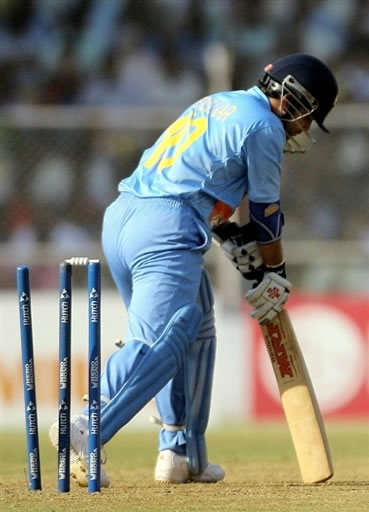 Tendulkar is clean bowled