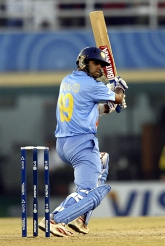 Dravid hits a boundary