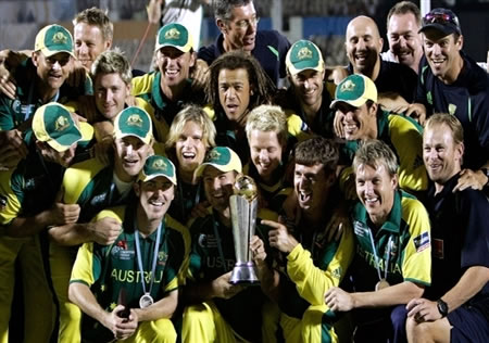 Australian cricketers & team officials pose with The ICC Champions Trophy 2006
