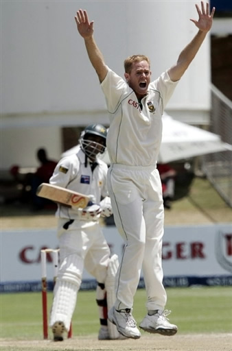 Pollock celebrates the wicket of Hafeez