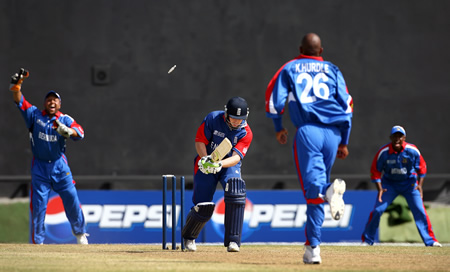 Ed Joyce is bowled by Kevin Hurdle