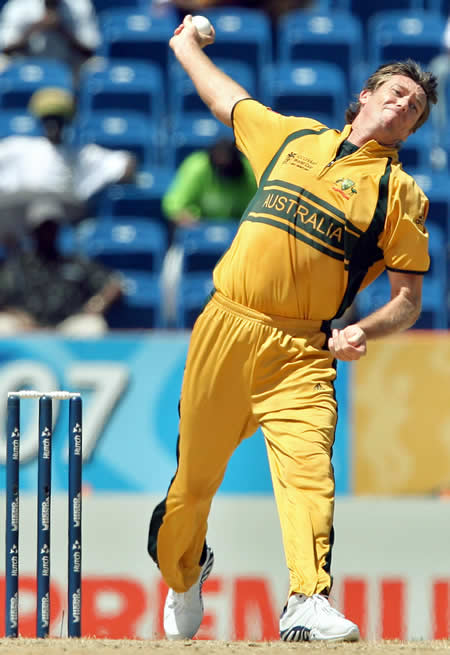 Glenn McGrath delivers a ball