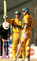 Ricky Ponting celebrate his fifty
