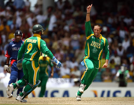Andrew Hall celebrates the wicket of Flintoff