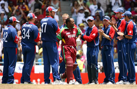 England players applaud Brian Lara as he walks to the crease in his last ODI