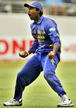 Chamara Silva celebrates after taking the catch of Brendon McCullum