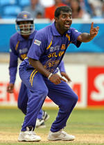 Muttiah Muralitharan appeals for lbw