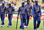 Sri Lanka players celebrate their victory over New Zealand