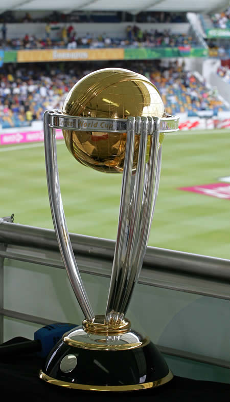 The ICC Cricket World Cup trophy is pictured before the start of Final