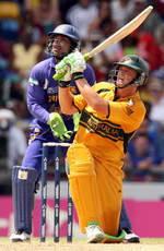 Adam Gilchrist hits a six