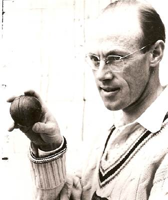 Charles Palmer shows his bowling grip