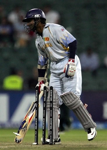 Kumar Sangakkara is bowled by Mohammad Asif