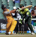 Ricky Ponting is bowled by Mohammad Hafeez