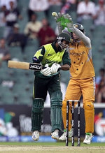Andrew Symonds bowls a wide over Shoaib Malik head and Pakistan win the match