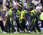 Pakistan team celebrate victory over Australia
