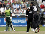 Styris and Vincent celebrate the wicket of Mohammad Hafeez