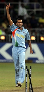 Irfan Pathan celebrates the wicket of Symonds