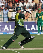 Younis plays a cut shot