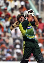 Shahid Afridi plays a shot