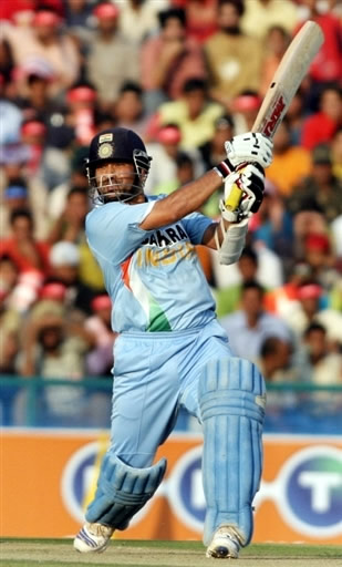 Sachin Tendulkar plays a cover drive