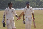 Sreekumar Nair after hitting unbeaten 306 runs against Services with Vinan G Nair