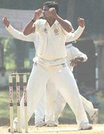 P Prasanth reacts after a close run out chance