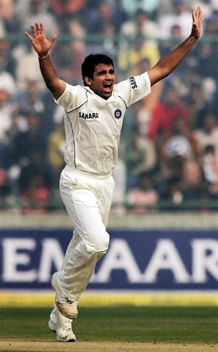 Zaheer Khan celebrates the wicket of Salman Butt