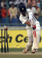 Rahul Dravid is bowled by Shoaib Akhtar