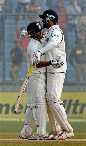 Sachin Tendulkar & VVS Laxman congratulate each other after their team's victory