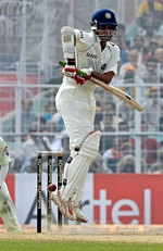 Saurav Ganguly defends a short ball
