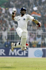 Saurav Ganguly celebrates his century
