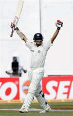 Saurav Ganguly celebrates his maiden double-century