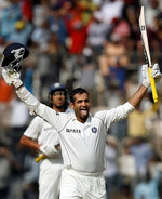 Irfan Pathan celebrates his maiden Test century