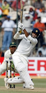 Irfan Pathan hits a six