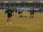 Adam Gilchrist at Australia's practice session