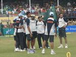 Indian team during a fielding practice session