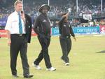 Match Referee Chris Broad and Umpires SA Bucknor and SL Shastri