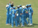 Indian team celebrates the wicket of Inzamam