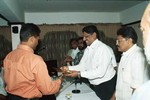 KN Ananthapadmanabhan receives the award from SK Nair