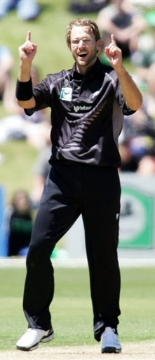 Daniel Vettori celebrates the wicket of Shakib-Al-Hasan