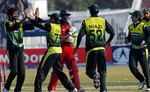 Sohail Tanvir celebrates the wicket of Sibanda